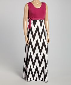 Look at this Berry & Black Chevron Tie-Waist Maxi Dress - Plus on #zulily today!