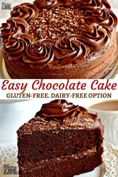 Easy Gluten-Free Chocolate Cake with Chocolate Butter Cream Frosting A one bowl chocolate cake recipe that is quick easy and delicious Dairy-Free option included Recipe from Lactose Free Cakes, Gluten Free Vanilla Cake, Gluten Free Sweets, Dairy Free Gluten Free Cake, Butter Free Cake Recipe, Gluten And Dairy Free Desserts Easy, One Bowl Chocolate Cake Recipe, Dairy Free Chocolate Cake, Chocolate Recipes