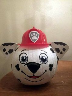 Paw Patrol Marshall Painted Pumpkin For Kids These 19 Clever No Carve Painted Pumpkins For Kids are fun for the whole family. Ideas include Pokemon, My Little Pony, Paw Patrol, Shopkins, and more. Diy Halloween, Halloween Pumpkins, Halloween Decorations, Paw Patrol Halloween Costume, Paw Patrol Halloween Ideas, Christmas Pumpkins, Fall Pumpkins, Paw Patrol Marshall, Marshall Paw Patrol Costume