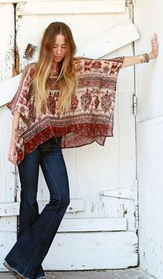 boho flare jean style - Google Search