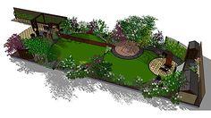 Pair of round lawns in a circular themed long,narrow garden,