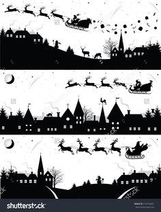 Set Of Christmas Silhouettes. Illustration vectorielle libre de droits 118716631 : Shutterstock