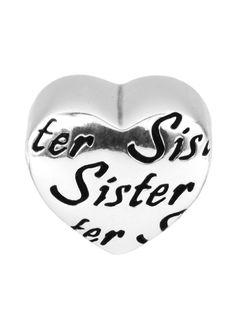 Berloque coração sister em prata 925