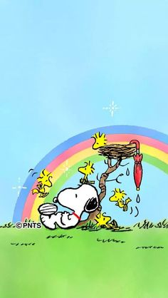 Snoopy, Woodstock and Friends Sitting Under a Blue Sky and Rainbow After a Rainstorm Snoopy Et Woodstock, Snoopy Love, Baby Snoopy, Snoopy Images, Snoopy Pictures, Peanuts Cartoon, Peanuts Snoopy, Snoopy Wallpaper, Iphone Wallpaper