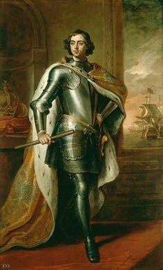 'Portret van de Russische Tsaar Peter de Grote', 1698 / Sir Godfrey Kneller (1646-1723) / Collectie van het Brits Koningshuis.