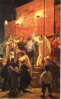 "Viktor M. Vasnetsov: ""Acrobats, Festival in a Paris suburb"", 1876/77, oil on canvas, Dimensions: 221 × 136 cm (87 × 53.5 in)."