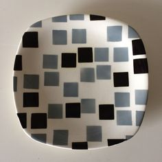 T.G.Green 'Samba Ware' Tea Plate in the very rare Ivory Black and Dove Grey colourway on the Patio shape.