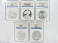 2011 AMERICAN EAGLE 25TH ANNIVERSARY SILVER 5 COIN SET PERFECT NGC PROOF 70 Ultra Cameo and MINT STATE 70