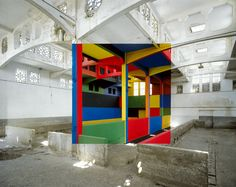 The work of Georges Rousse, a French artist who has been creating his painted perspective installations in abandoned and soon-to-be demolished buildings since the 1980's.