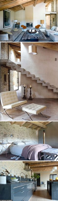 """'Renovated Provence Shepherd's House"""": After spending six years in London, New Zealanders Paul and Charmaine Jack took their fashion design and restaurant experience to Belvézet, France. Expertly weaving old and new together in this 250 year old barn, the couple expanded the space by adding a concrete staircase to access new 2nd floor bedrooms. The couple's elegant taste can also be felt at their highly regard restaurant, Les Trois Salons, in nearby Uzès.   Photos: Nicolas Matheus for Cotè…"""