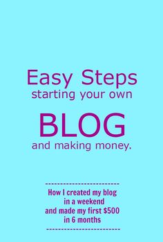 Starting Your Own Blog and Making Money.....hmmm, maybe something to think about trying while on our NZ trip