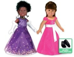 "Two beautiful gowns with shoes, white gloves and a black choker for 18"" dolls! Fabulous!"