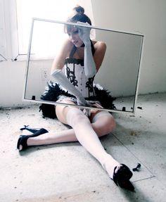 FIFI  Burlesque Corset Costume White Black & undies by olgaitaly, $185.00