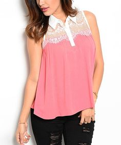 Look at this Coral & Ivory Lace-Trim Button-Front Top on #zulily today!