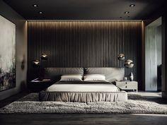 Luxury home in Moscow by . Black Bedroom Design, Room Design Bedroom, Master Bedroom Interior, Modern Master Bedroom, Bedroom Furniture Design, Home Room Design, Home Bedroom, Modern Luxury Bedroom, Luxury Bedroom Design