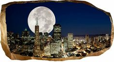 Startonight Mural Wall Art Photo Decor Big Moon in the City Amazing Dual View Surprise Large inch By inch Wall Mural Wallpaper for Living Room or Bedroom Urban Collection Wall Art >>> To view further for this item, visit the image link. Big Moon, Mural Wall Art, 3d Wallpaper, City Photo, Photo Wall Art, Urban, Living Room, Amazing, Image Link