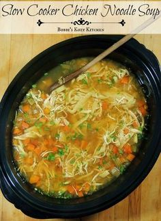 Slow Cooker Chicken Noodle Soup - Break out that slow cooker and make this soup ASAP!! It is, hands down, the best chicken noodle soup ever!