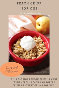 This glorious peach crisp is made with a 1 fresh peach and topped with a buttery crumb topping. This crisp recipe can be used with any stone fruit (plums, cherries, apricots). It's an easy to make single serving dessert that can be ready in minutes. Single Serve Desserts, Single Serving Recipes, Ice Cream Recipes, Pie Recipes, Slushie Recipe, Peach Crisp, My Pie, Summer Dessert Recipes, Stone Fruit