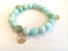 Handmade Light Green Amazonite Gold Peace Charm by DesignsByLidise, $18.00
