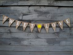 Sweet love burlap banner with yellow felt flower by MirtilloShop, $25.00