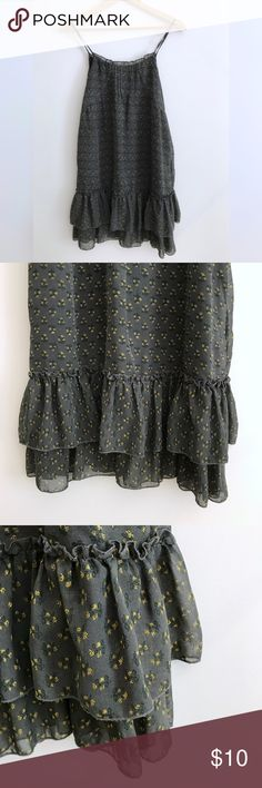 Gray Dress with Ruffles Great used condition.  Gray fabric with tiny yellow flowers.  Fully lined. True to size. Forever 21 Dresses