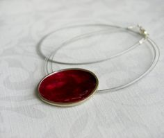 Red Resin Pendant in Sterling Silver by mariastudio on Etsy
