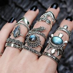 ✧☆✧ Stacking GOALS though! Every stack needs a little labradorite love ✧☆✧ Shop ⇢⇢ www.shopdixi.com // shop dixi // boho // bohemian // gothic // grunge // witchy // witchy // boho jewels // boho chic  // bohemian jewellery // bohemian jewelry // silver rings // sterling silver // gypsy jewels // rings // stacking rings // moon child // dark // mystic