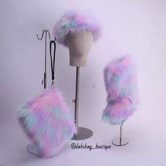 Fluffy Faux Fur Boots Rainbow Color with Matching Fur Purse and Headband Set Furry Boots, Fur Ankle Boots, Faux Fur Boots, Women's Boots, Fur Purse, Fur Bag, Faux Fur Headband, Warm Snow Boots, Cozy Fashion