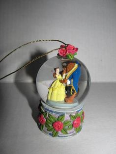 DISNEY PARKS Belle Beauty & The Beast Snow Globe Christmas Ornament Glitter   eBay