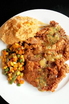 SPICY PAN-FRIED PORK CHOPS with CREAMY GRAVY & CHIPOTLE MASHED ...