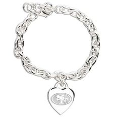 San Francisco 49ers Ladies Silver Heart Charm Bracelet
