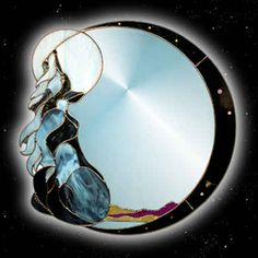 Wolf stained glass mirror; I love this, I need to try make one