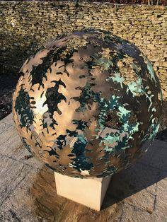 A diameter solid brass Garden sculpture sphere. The design is based on a Hydrangea flower, the choice of my client. Steel Sculpture, Garden Sculpture, David Murphy, Hydrangea Flower, Flowers, Solid Brass, Sculptures, Design, Sculpture