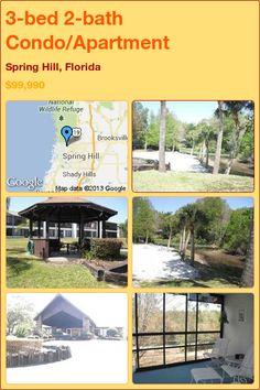 3-bed 2-bath Condo/Apartment in Spring Hill, Florida ►$99,990 #PropertyForSale #RealEstate #Florida http://florida-magic.com/properties/4485-condo-apartment-for-sale-in-spring-hill-florida-with-3-bedroom-2-bathroom