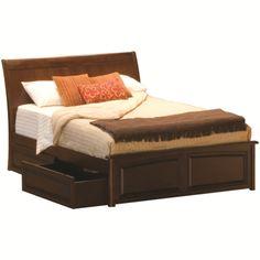 Atlantic Furniture Bordeaux King Bed, Raised-panel Footboard, Raised-panel Under Bed Drawers, Antique Walnut