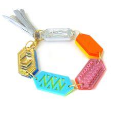 Friendship Charm Bracelet - Laser Cut Geometric Acrylic Perspex Jewelry