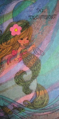 Vintage 1960's Mermaid Birthday Card