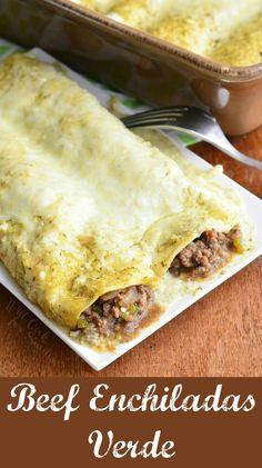 Smothered Beef Burritos, Shredded Beef Enchiladas, Slow Cooker Shredded Beef, Ground Beef Burritos, Chicken Burritos, Easy Enchilada Casserole, Enchilada Recipes, Enchilada Sauce, Casserole Dishes