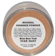 Shop for Mineral Makeup Star Dust Mineral Shimmer Powder Bren New York Unique light reflecting mineral shimmer powder will give you a luminous glow. Shimmer Eyeshadow, Mineral Powder, Unique Lighting, Iron Oxide, Face And Body, Makeup Cosmetics, Minerals, Reflection