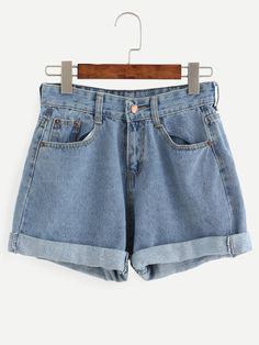 Short à revers avec poches - bleu