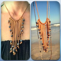 pearl. love. fringe necklace with hippy spirit beaded necklace