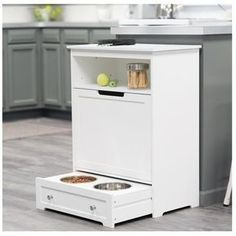 Pet Feeder Station Storage Cabinet Product Description: This dog food storage cabinet is not only great for storing pet supplies but also makes a great addition to your home decor! This dog food stora #dogfoodstation #dogsupplies #dogfoodstorage