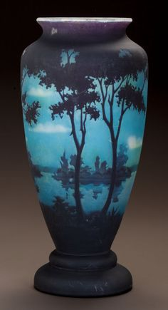 DAUM OVERLAY GLASS LANDSCAPE VASE Circa 1900. Cameo DAUM, NANCY, with the cross of Lorraine