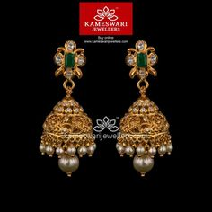 Mesmerizing collection of gold earrings from Kameswari Jewellers. Shop for designer gold earrings, traditional diamond earrings and bridal earrings collections online. Gold Jhumka Earrings, Gold Bridal Earrings, Jewelry Design Earrings, Gold Wedding Jewelry, Buy Earrings, Gold Earrings Designs, Gold Jewellery Design, Earrings Online, Gold Jewelry