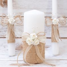 Rustic Wedding Candles Rustic Unity Candle Set Unity Candles for Wedding Rope Candles with burlap, pearls and lace. Burlap wedding candles, This Unity set includes 3 burlap unity candles wrapped in Burlap, Lace and mini Roses. A complete set for your ceremony.These will make the