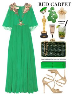 """""""Red Carpet at the Oscars"""" by palmtreesandpompoms ❤ liked on Polyvore featuring Gucci, Jimmy Choo, Wilbur & Gussie, Rodin, MAC Cosmetics, Miriam Haskell, Caipirinha and Vhernier"""