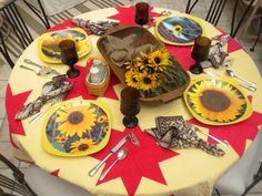 Panoply: Sunflower Tablescape - Curated from My Garden!--plates are photos made into melamine plates at Shutterfly