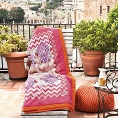 #bassetti #plaid #decke #mediterran #mediterranean #colorful #bunt #pink #orange Plaid Bodhran von Bassetti - hochwertige Decke aus Baumwolle