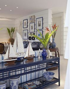 Bright Bold Blue And White Cozy Hamptons House Living by Tory Burch