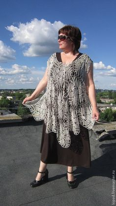 Plus Size, Crochet Handmade  Poncho Tunic, linen from Sweet Kipod by DaWanda.com